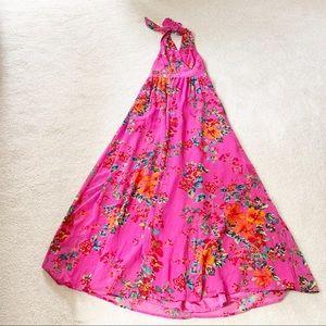 Express Lined Pink Floral Halter Maxi Dress